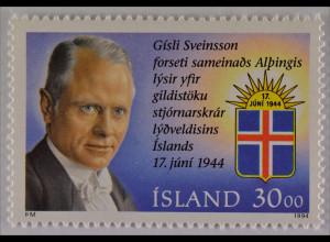 Gísli Seveinsson Briefmarke 1994 Michel Nr. 807 50 Jahre Republik Island