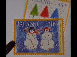 Schneemann und Schneefrau Weihnachten Jól 1995 Briefmarken