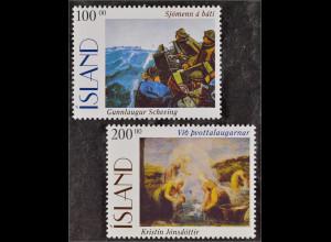 Island 1996 Michel Nr. 842-43 Gemälde Seeleute Boot Waschquellen