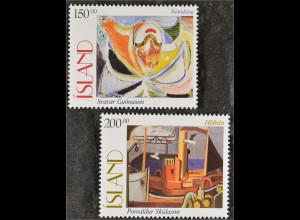 Gemälde Briefmarken Islands Melodie von Svavar Gudnason und Der Hafen