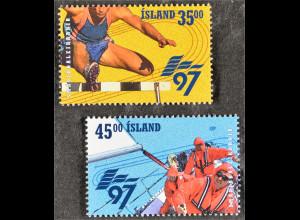 Sportspiele der EU-Kleinstaaten Hürdenlauf Segeln Briefmarken aus Island
