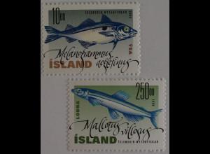 Island Iceland 2000 Michel Nr. 960-61 Schellfisch und Lodde Mallotus villosus