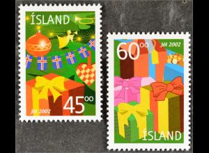 Island Iceland 2002 Michel Nr. 1024-25 Weihnachten Geschenke Weihnachtsbaum