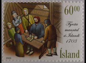 Island Iceland 2003 Michel Nr. 1044 300 Jahre der ersten Volkszählung 1703