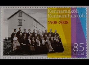Island 2008 Michel Nr. 1186 100 Jahre Lehrerseminar Schulgebäude
