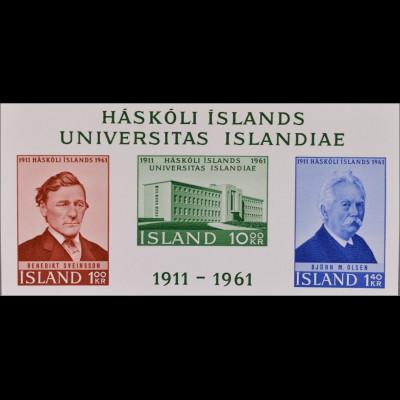 Island Iceland 1961 Block 3 50 Jahre Universität von Island Seveinsson Olsen