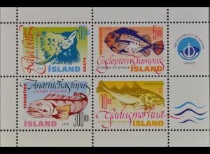 Island Iceland 1998 Block 21 Nutzfische Seehase Kabeljau Glattrochen Seewolf