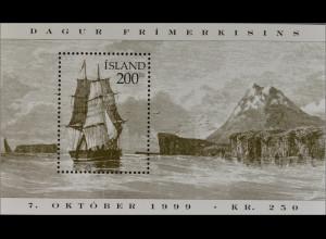 Island Iceland 1999 Block 24 Historische Segelschiffe Dänisches Handelsschiff