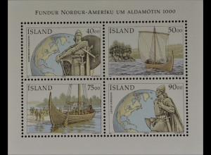 Island 2000 Block 26 1000. Jahrestag Entdeckung Amerikas durch Leif Eriksson