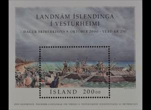 Island 2000 Block 27 Tag der Briefmarke Gründung isländische Siedlung Vesturheim