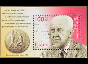 Island Iceland 2002 Block 30 100. Geburtstag von Halldór Laxness