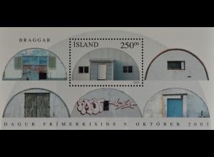 Island Iceland 2003 Block 33 Tag der Briefmarke: Ehemalige Militärbaracken