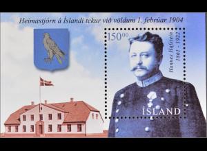 Island Iceland 2004 Block 34 Innere Selbstverwaltung Hannes Hafstein