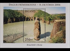 Island 2004 Block 36 Tag der Briefmarke Tuffsteinformationen Brúarhlöd Hvitá