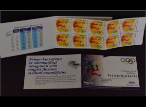 Island 1996 Michel Nr. 852-53 MH-Paar booklet Olympische Sommerspiele Atlanta