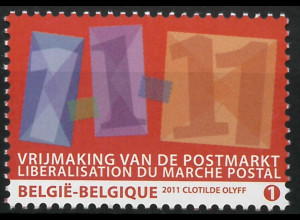 Belgien 2011 Michel Nr. 4135 Liberalisierung des Postmarktes Datum 1.1.11