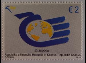 Kosovo Republika e Kosovés 2015 Michel Nr. 320 Diaspora Emblem mit Weltkarte