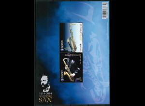 Belgien 2014 Block 185 Europa Musikinstrumente Saxophon Adolphe Sax